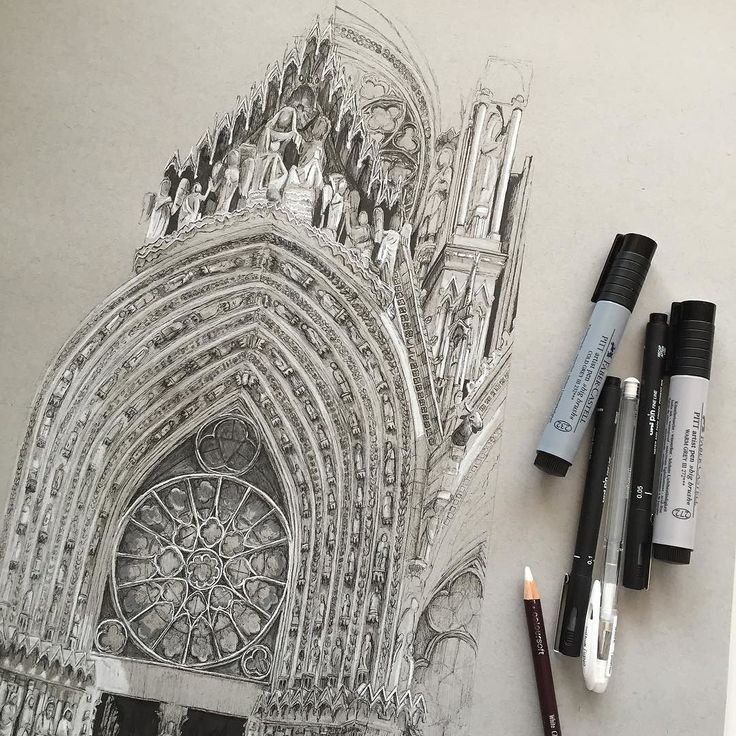 Today's progress... #art #drawing #pen #sketch #illustration #notredame #paris #france #architecture #gothic #gothicarchitecture