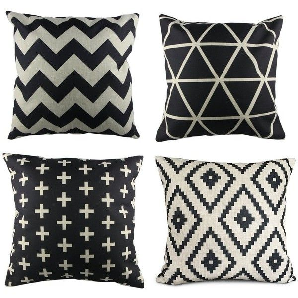 GYBest Best P61 4pcs Cotton Linen Sofa Home Decor Design Throw Pillow Case Cushion Covers Square 18 Inch (1x plus, 1x Geometry, 1x triangle, 1x Black Zig Zag Chevron) (990 RUB) found on Polyvore featuring home, bed & bath, bedding, chevron bedding, chevron stripe bedding, chevron pattern bedding, black bedding and black chevron bedding