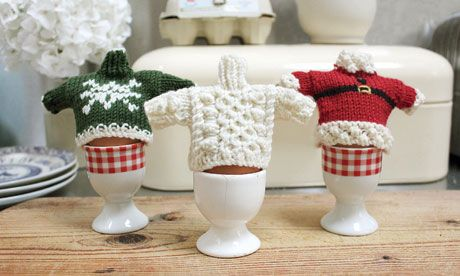 Not started knitting for Christmas jumper day yet? If you've left it too late to make a full-size jumper, try these cute sweater-shaped egg cosies instead.