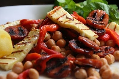 Grilled Haloumi With Roasted Capsicum, Chickpeas And Chorizo | pete evans