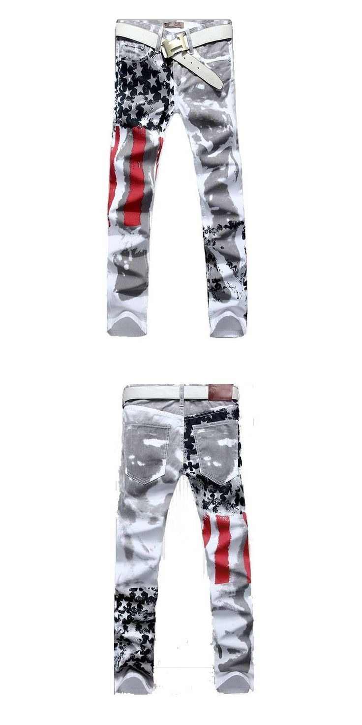 Mens Printed Jeans Plus Size Flag Printing Design White Jeans For Men Stars Striped Straight Ripped Jeans Male 36 MB548 Z35