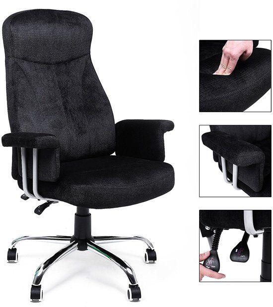 Verstelbare Bureaustoel Zwart.Songmics 360 Graden Draaibare Modieus Vormgegeven Bureaustoel