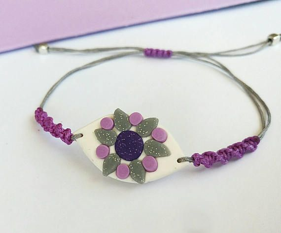 Unusual Purple Evil Eye Bracelet made with polymer clay, by BeeJouJoux