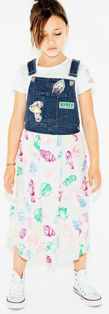 KENZO KIDS Girls Food Fiesta Overall Dress for Spring Summer 2018. Love this cute mini me look Inspired by the Kenzo Women's Collection. Perfect Streetwear Look with a fun overall top and connected print skirt for a little princess. Pretty Summer Look for a stylish kid, tween and teen girls.    #kenzo #girlsdresses #kidsfashion #fashionkids #childrensclothing #girlsclothes #girlsclothing #girlsfashion