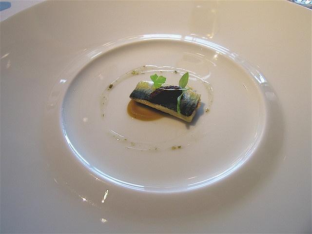 Per Se Marinated French Sardines–Sultana Puree, Nicoise Olives, Parsley Shoots and Spanish Caper Vinagirette
