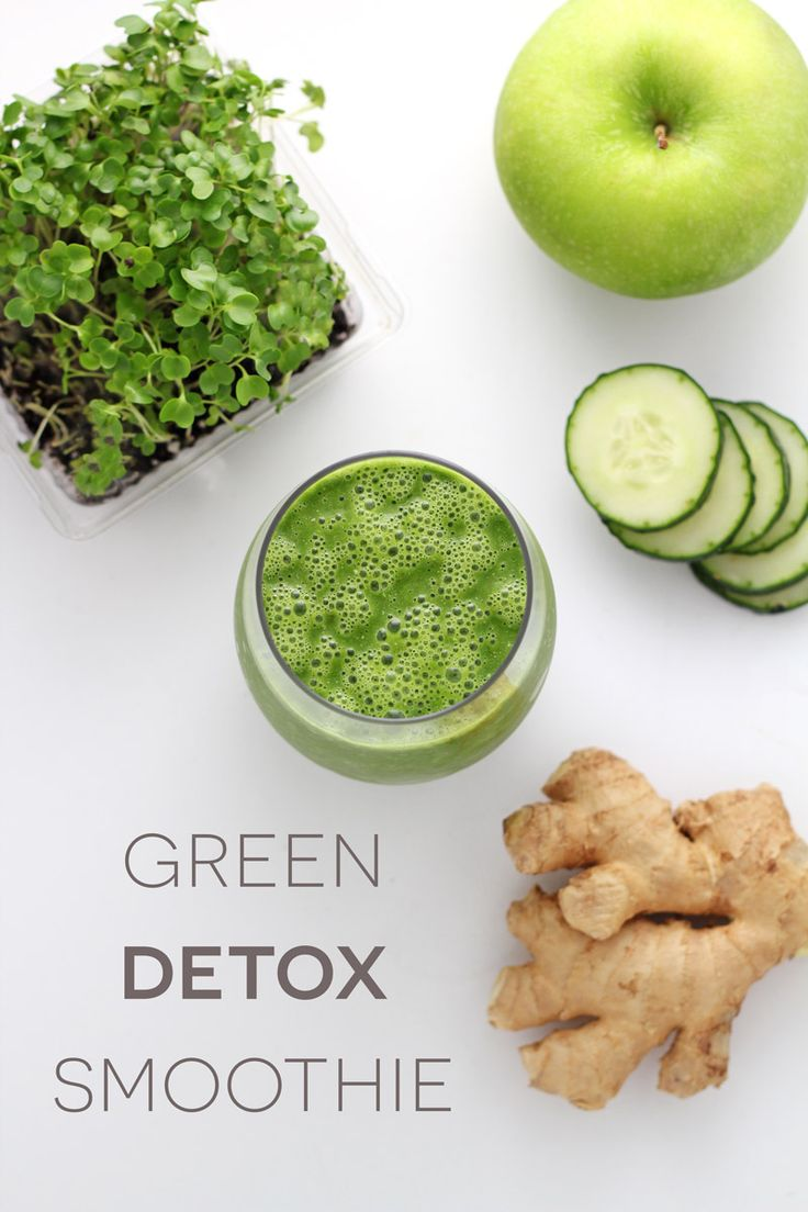 Green detox smoothie recipe: a great way to detoxify your body! Loaded with kale, broccoli sprouts, cucumber, turmeric, lemon, ginger, and green apple!