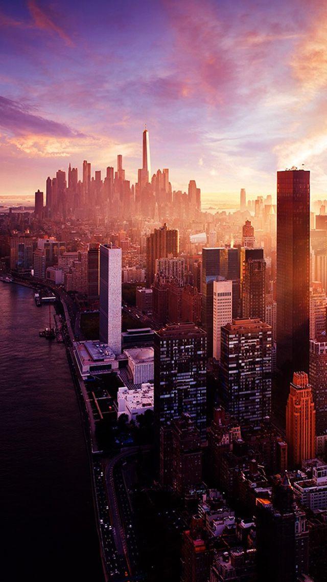 New York Sunset City Skyline #iPhone #5s #wallpaper
