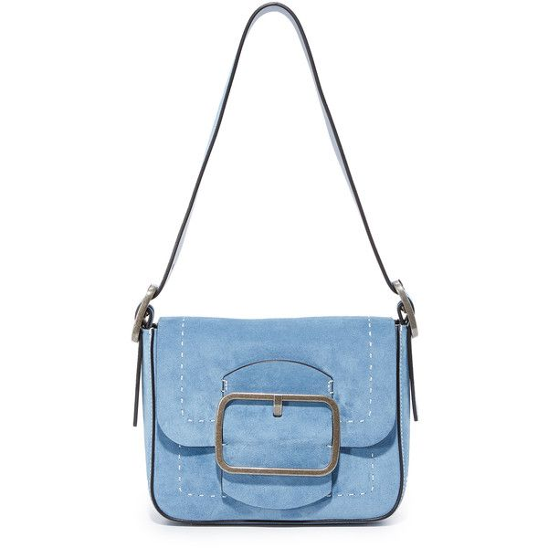 Tory Burch Sawyer Small Shoulder Bag ($505) ❤ liked on Polyvore featuring bags, handbags, shoulder bags, bolsas, purses, bluebird, leather man bags, leather shoulder bag, shoulder hand bags and white leather purse