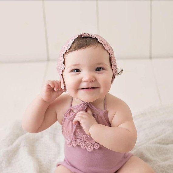BABY ROMPER  TIEBACK : striped baby pink knit romper cotton lace trim newborn romper paper flower tieback baby photography photo prop