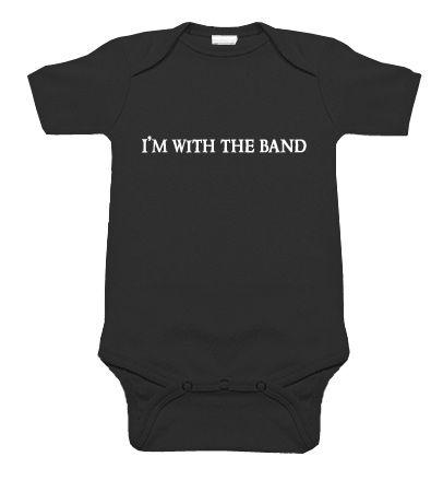 I'm With the Band Black One Piece - My Baby Rocks www.punkbabyclothes.net #mybabyrocks #punkbabyclothes - cool rocker band onesie