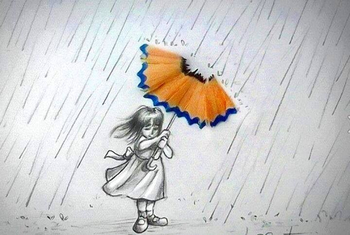 Little girl holding umbrella from pencil shavings drawing for Disegni tridimensionali facili