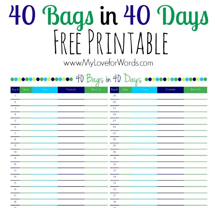 This is a picture of Ridiculous 40 Bags in 40 Days Printable