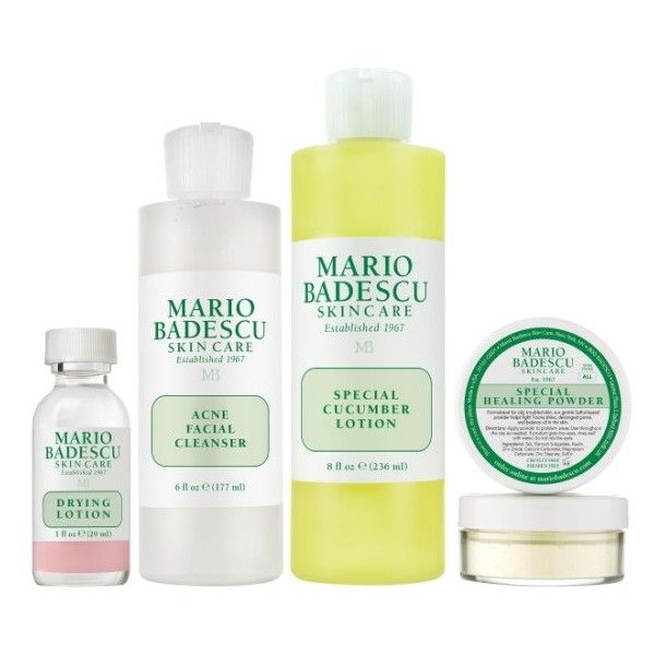 Mario Badescu Acne Skin Care Kit (550 ZAR) ❤ liked on Polyvore featuring beauty products, skincare, face care, no color, polishing kit, mario badescu skin care and glossier skin care
