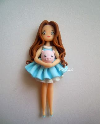 Polymer clay chibi girl with pig. By Katalin Handmade (2013) I look like this and the little pig aww!