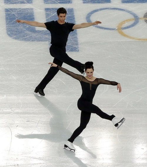 Tessa Virtue and Scott Moir practising at the 2014 Olympic Games.