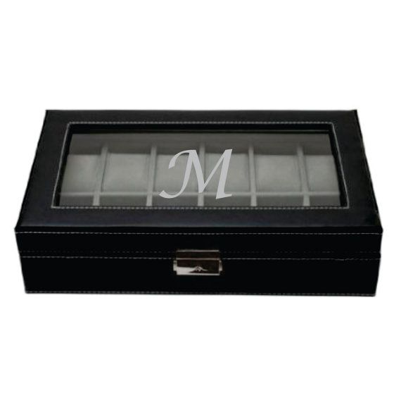 Watch Box Holds 12 Watches Black Leather Watch by KustomProducts
