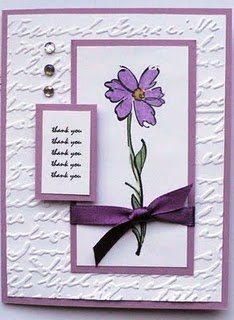 This would make a great birthday card with the embossing folder background.