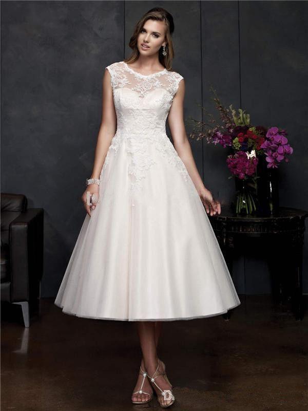 2016 Hot Sale Vintage Tea Length Wedding dresses A Line Scoop Sleeveless Tulle Plus size Bridal Gowns Vestido de Novia Corto