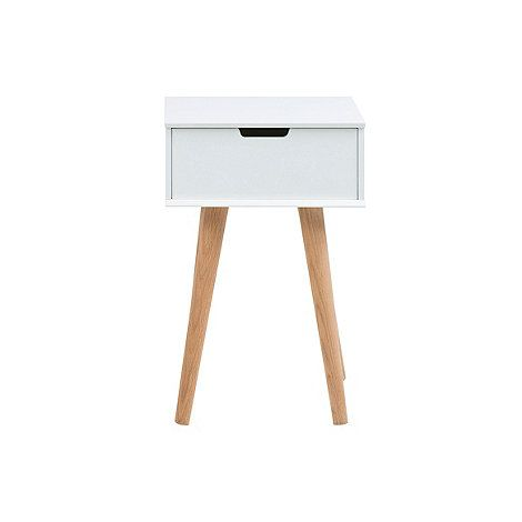 Our 'Buca' range comprises of simple and stylish storage pieces which can be used throughout the home; from hallways and offices to children's bedrooms. This bedside cabinet is made from durable MDF with a clean white finish and complementary pine wood legs and offers a single spacious drawer with neat, cut-out handles.