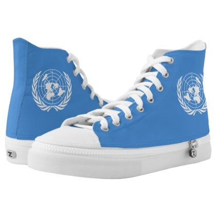 #UN Flag High-Top Sneakers - #womens #shoes #womensshoes #custom #cool