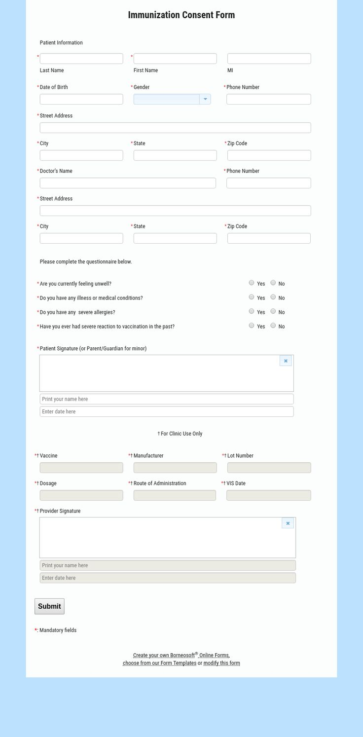 Easy To Customize Online Immunization Consent Form.