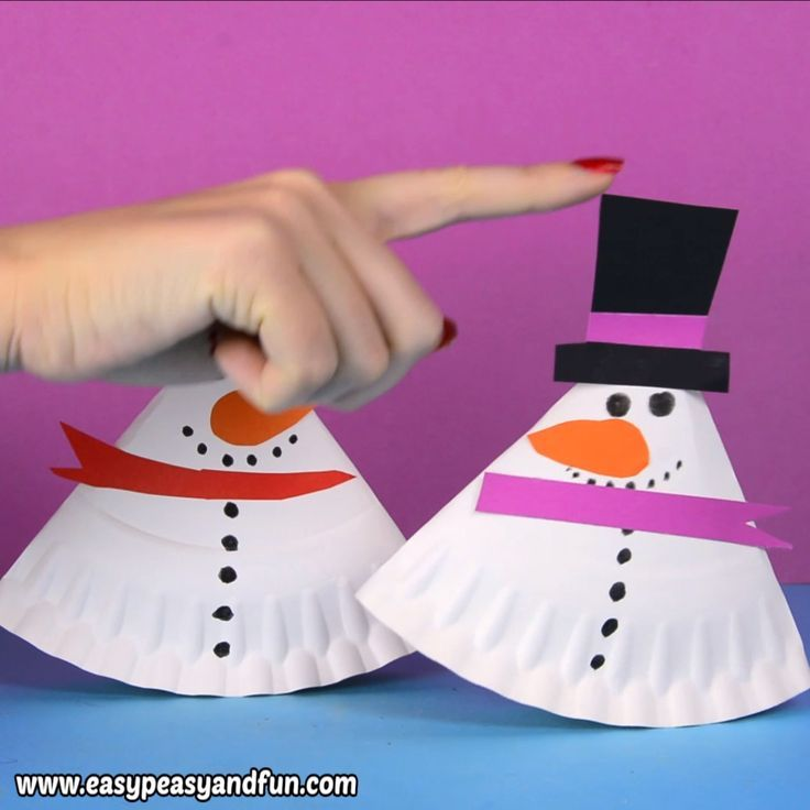 Swing paper plate snowman