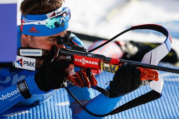 Anton Shipulin of Russia wins the gold medal during the IBU Biathlon World Championships Men's Relay on February 18, 2017 in Hochfilzen, Austria.