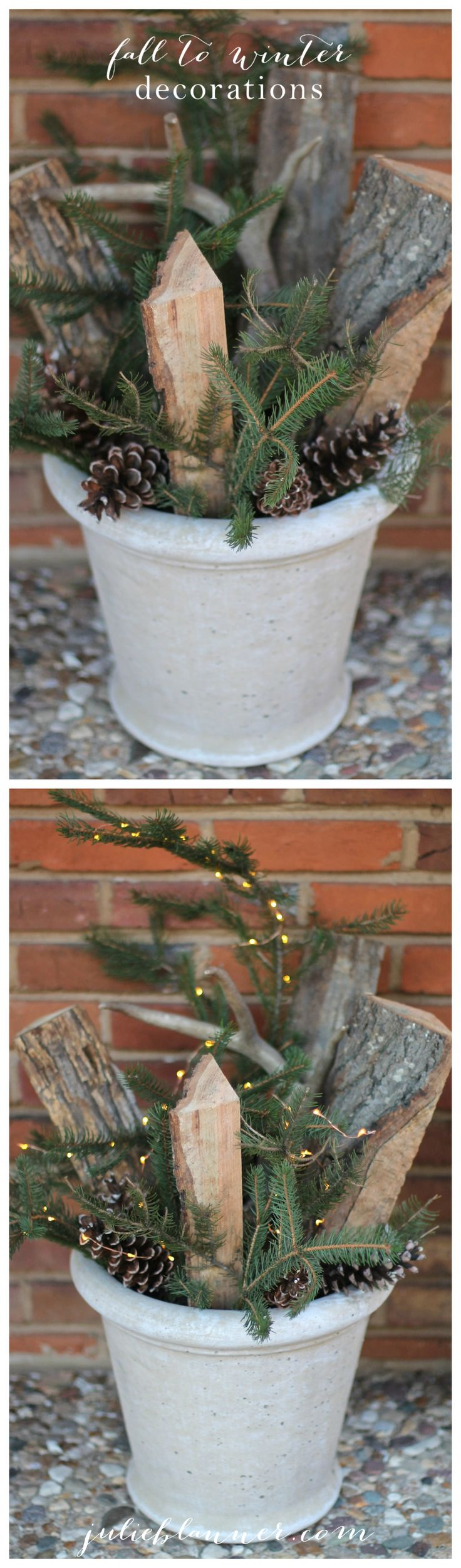 "Easy fall to winter decorations | a 5 minute front porch ""topiary"" arrangement"