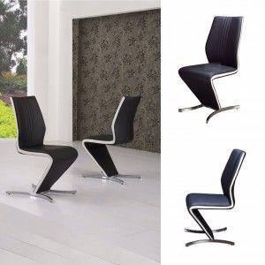 Isabella Z Chair Black with White Strip