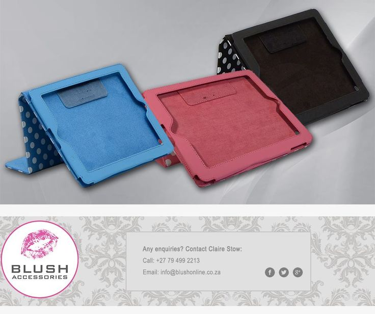 This cheeky #polkadot I-pad cover from #Blush is just what you need over the weekend to beautify your #technology and protect it at the same time. Available in sky blue, black and pink.