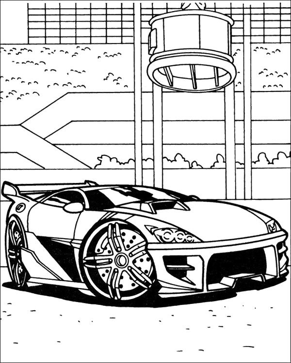 Car Themed Coloring Pages : Sport car hot wheels coloring pages kids party