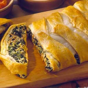 Here's an updated version of the tuna sandwich, made with spinach and cheese and wrapped in crescent roll dough.