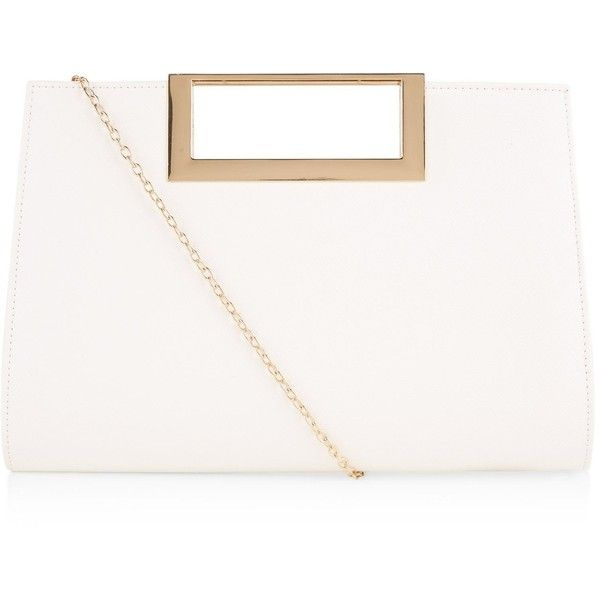 New Look White Square Metal Handle Clutch ($19) ❤ liked on Polyvore featuring bags, handbags, clutches, white, chain handle handbags, new look handbags, chain strap purse, handle handbag and white handbags