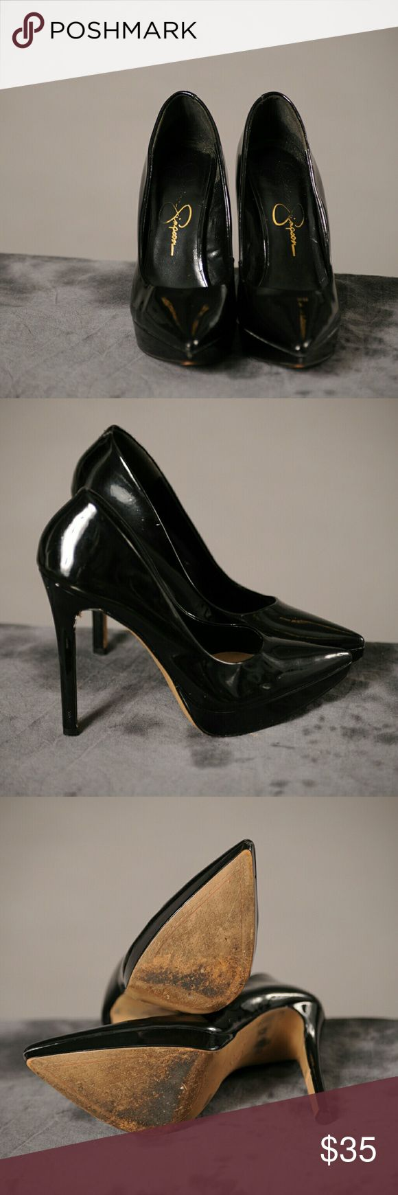Black pumps Leather stilletto heels with minimal wear Jessica Simpson Shoes Heels