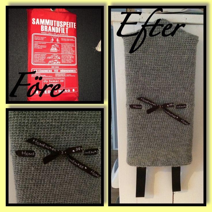 Virkat fodral med dekorband till en brandfilt.