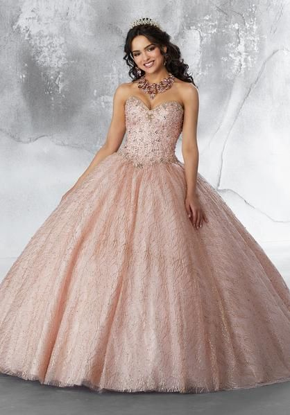 3468f00c3f Satin and Tulle with intricate Embroidery and Beading Quinceanera Dress.  Colors available  Rose Gold