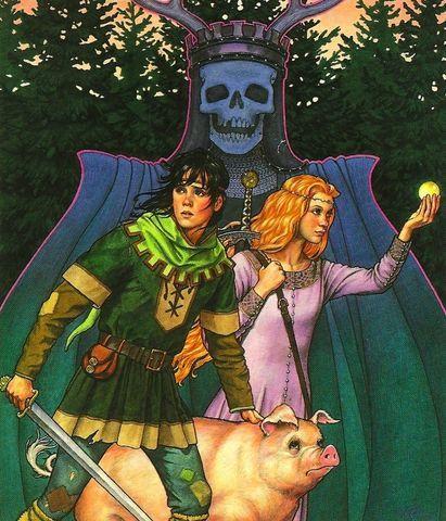 The Horned King with Taran, Princess Eilonwy & Hen Wen