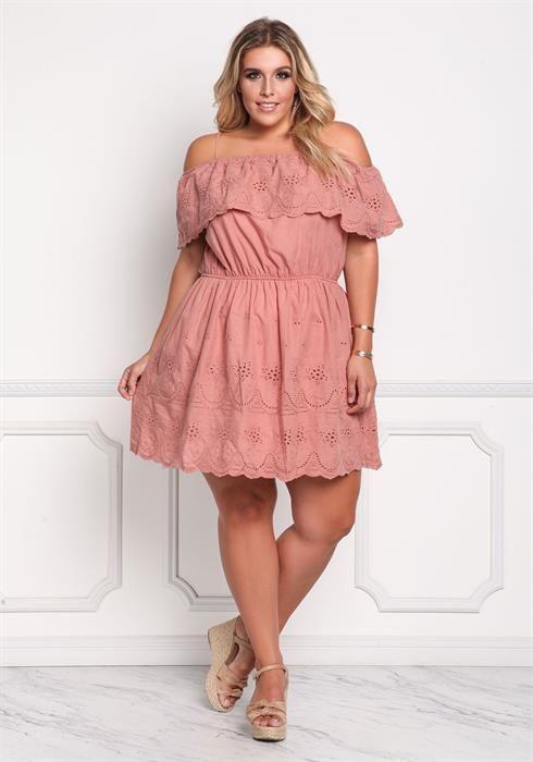 $33.59--Plus Size Eyelet Cold Shoulder Layered Dress