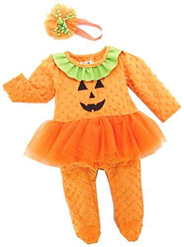 Baby Girls Orange one Piece with Headband with Bracelet for Mom (6-9 months with Bracelet for Mom) @ niftywarehouse.com #NiftyWarehouse #Halloween #Scary #Fun #Ideas