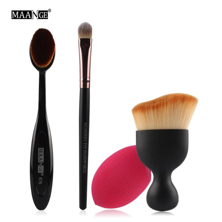 4pcs Makeup Kit (Foundation Brush & Sponge, Blush Contour, Eyeshadow Blending Brush)