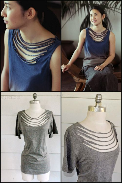 DIY Necklace Neckline Tee Shirt Tutorial from Wobisobi.Top Photos: $100 Jurgen Lehl Etc Tee. Bottom Photos: DIY by Wobisobi. Cut fewer or more strips at the neckline depending on how low you want the shirt to fall. Anne has posted 2 versions on her blog - one wearing it with a camisole, the other wearing it off the shoulder with a tee underneath.This is a no sew DIY. For a huge archive of amazing tee shirt DIYs go here and for Wobisobi's tee shirt and jewelry DIYs go here.