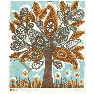 Paisley tree by Zoo Folksy  Lino cut, beautifulLino Cut