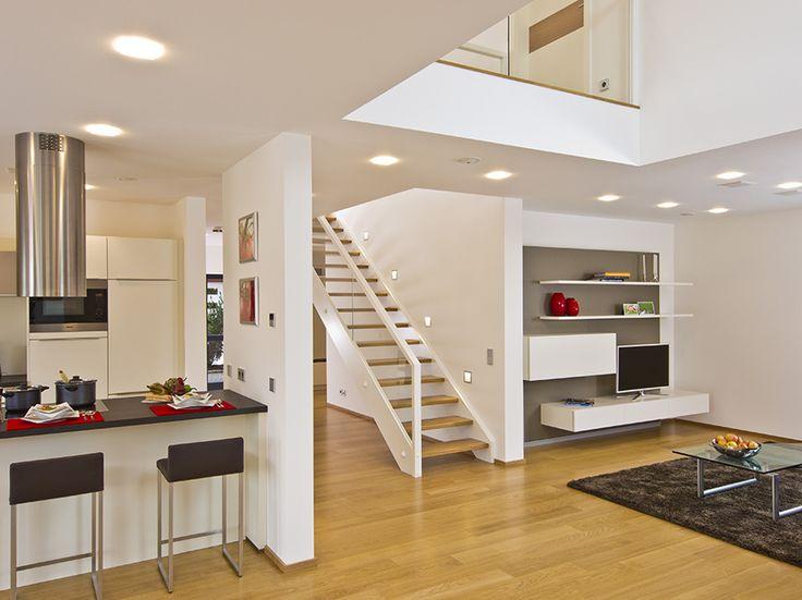 Haus FUTURE Mannheim - Wohnbereich mit integriertem Treppenaufgang - Made in Germany, made by WEISS