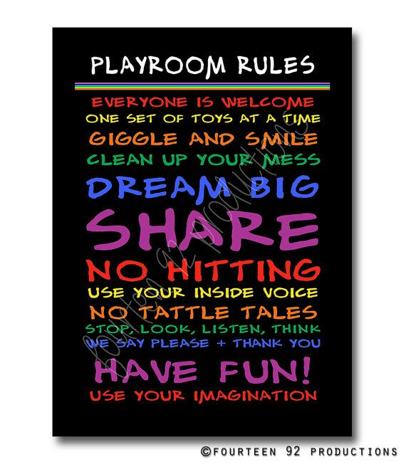 Playroom Rules by 1492productions on Etsy