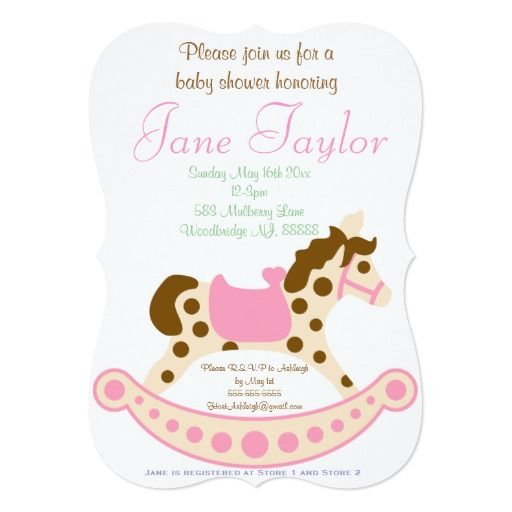 431 best horse baby shower invitations images on pinterest horse pink rocking horse baby shower invitations filmwisefo Gallery