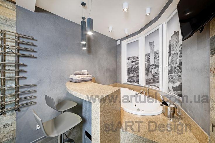 Тканевые ролеты, закрытая система на створки, печать на ткани Аква - для ванной комнаты. Дизайн помещения - студия stART Design.