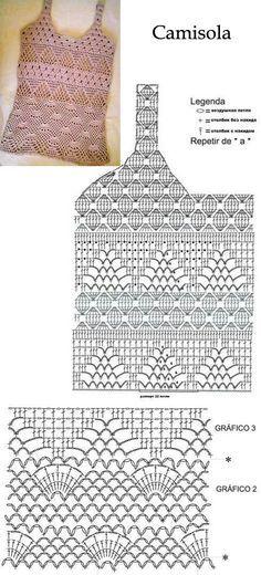 camisole with its diagrams вязание крючком