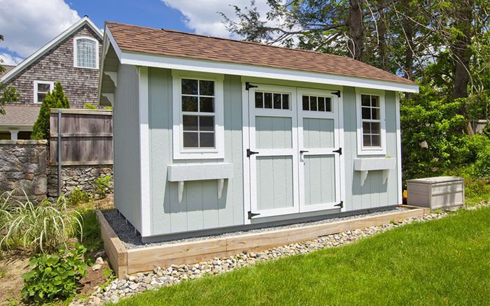 Shed Outbuilding Painted Grey And White Gardensheds Building A Shed Backyard Sheds Shed Plans