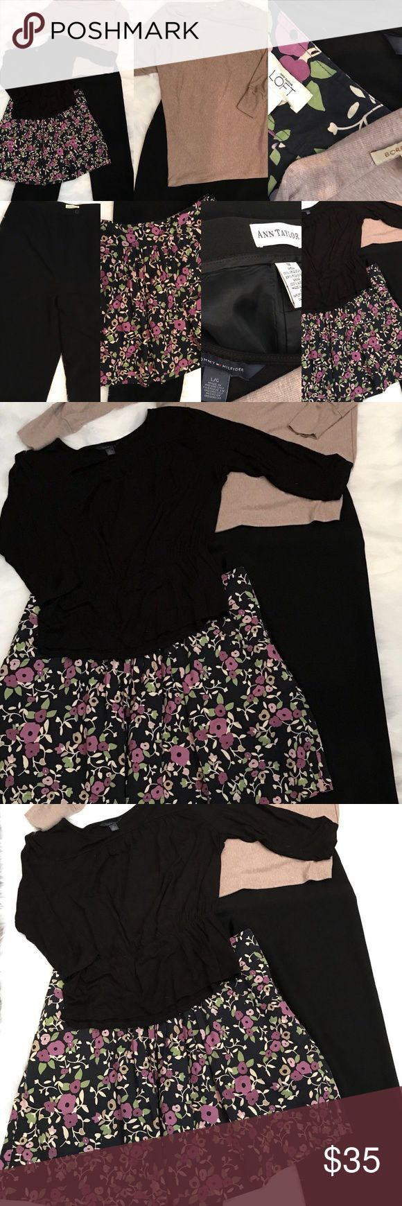 "LOT 4-PC WOMENS Large / 12 OUTFIT Ann Taylor Loft 1- Ann Taylor Black cuffed Dress pants. size 12. waist 31"" rise 16"" inseam 31"" 2- Ann Taylor Loft floral skirt Pockets on sides. size 12 waist 37"" waist to hem 19.5"" 3- Tommy Hilfiger black knit top size Large. shoulder to shoulder 18"" shoulder to hem 24"" arm pit to arm pit 24"" 4- Bordeaux Beige Tunic top size Large shoulder to hem 30.5"" arm pit to arm pit 26"" Ann Taylor Loft Other"
