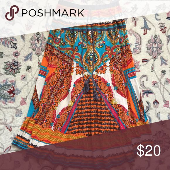 """Forever 21 Bohemian Tribal Maxi Skirt Size M Elastic waist measures 28"""" unstretched. Drawstring with tassels is just for looks. Length is 36"""". Great condition. 100 percent colorful rayon. Forever 21 Skirts Maxi"""